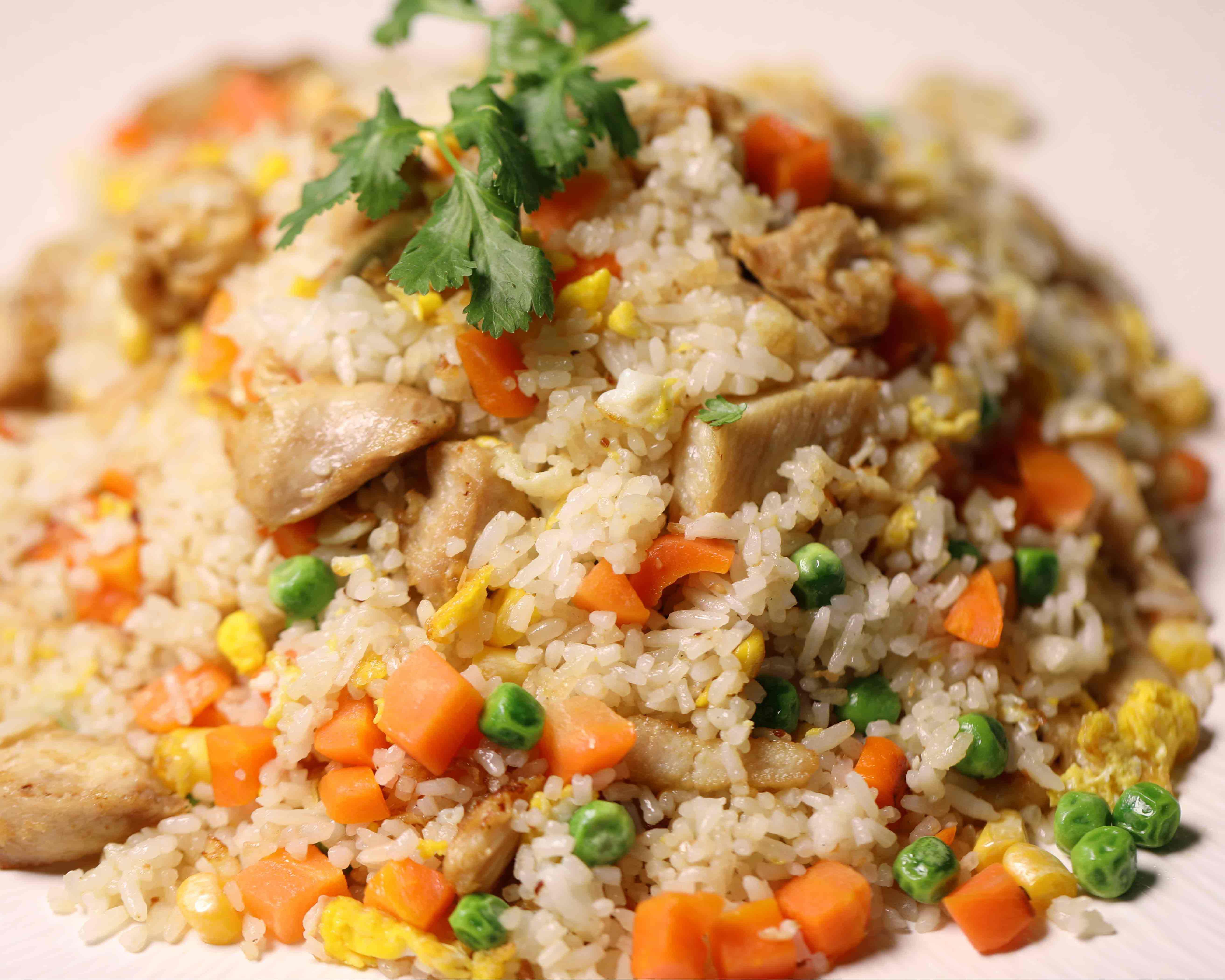 Stekt ris med kylling 89kr
